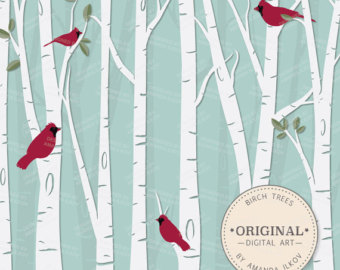 Birch Tree Clipart   Vector Set   Birch Tree Clip Art Birch Clipart