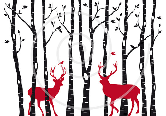 Birch Trees With Reindeer Digital Clipart Digital Art By Illustree