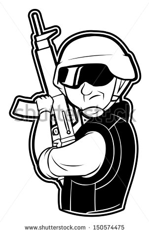 Black And White Clipart Soldier   Stock Photo