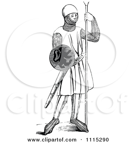 Clipart Vintage Black And White Medieval Soldier   Royalty Free Vector