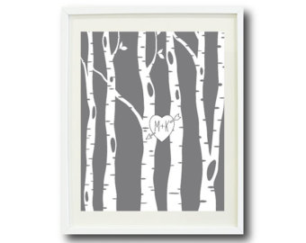 Custom Wedding Art Print 5x7 Birch Trees Couples Initials Heart Grey