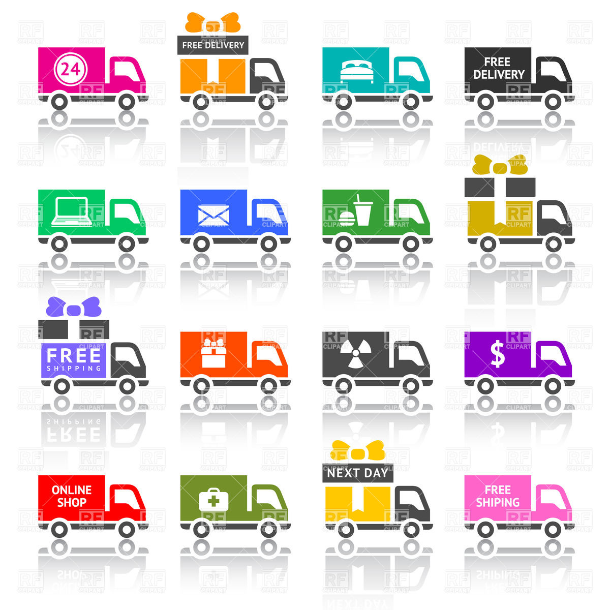 Delivery Van And Conveyance Lorry   Icon Set 18133 Download Royalty