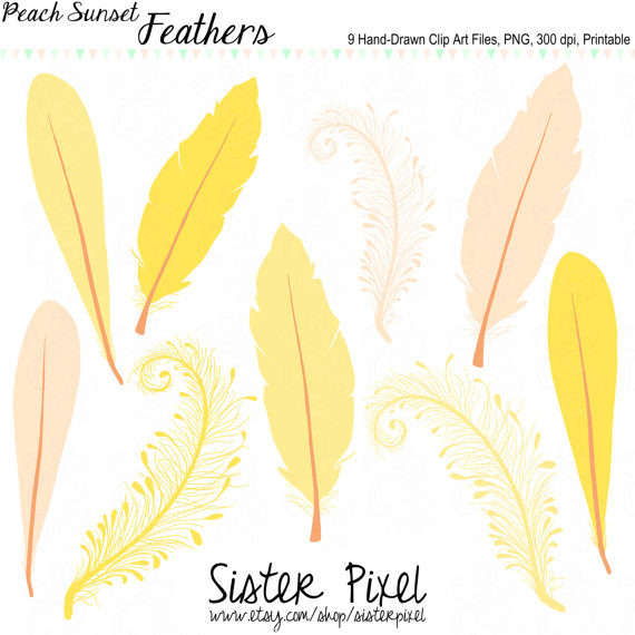 Feather Clip Art In Peachy Pink Goldenrod And Yellow For Personal And
