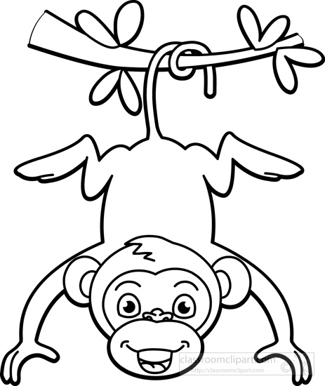 Clip Art Black And White Clipart monkey black and white clipart kid hanging from tree outline classroom clipart
