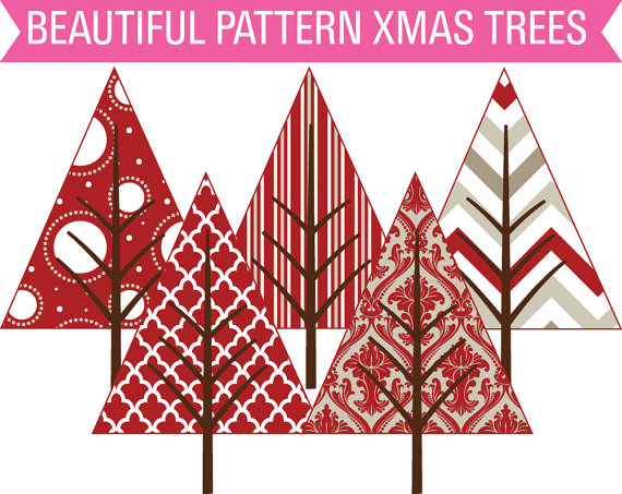 Off Sale Clip Art Country Christmas Patterned Christmas Trees Clipart