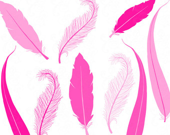 Pink Feather Clip Art Hand Drawn Printable Graphics