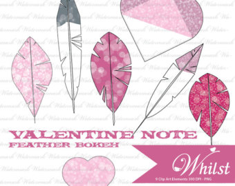 Sale Clip Art Valentine Pink Heart Scrapbooking Texture Pink Feather