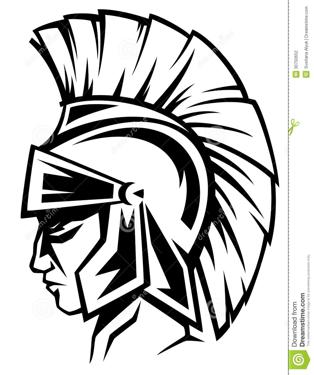 Spartan Warrior Black And White Profile   Ancient Soldier Wearing A