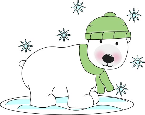 Christmas Polar Bear Clip Art   Winter Polar Bear   Winter Polar Bear