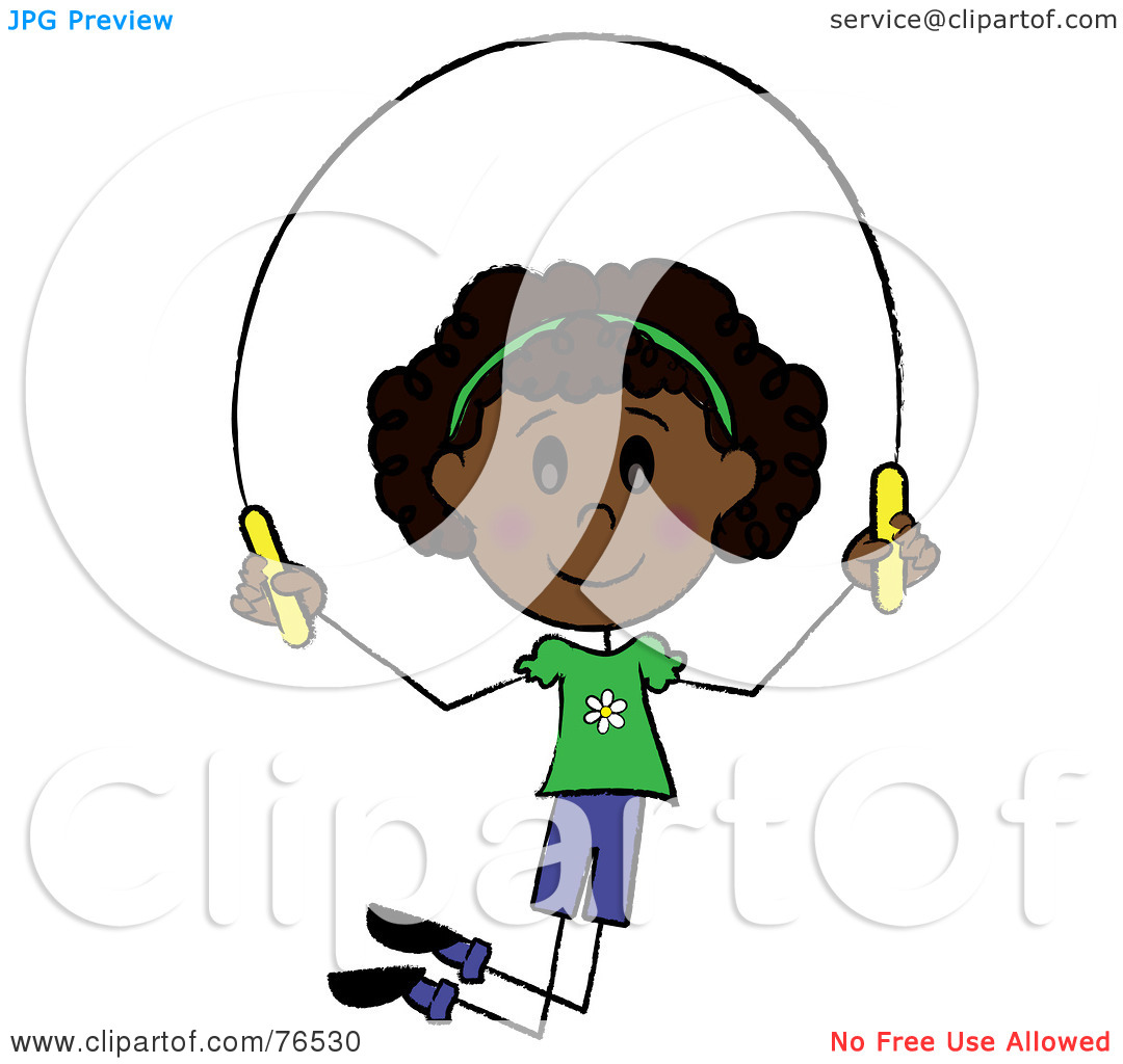Clipart Illustration Of A Happy African American Girl Jumping Rope