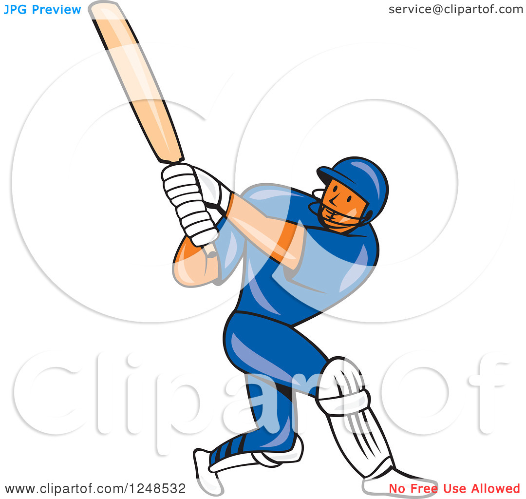 Clipart Of A Cartoon Cricket Player Man Batting   Royalty Free Vector