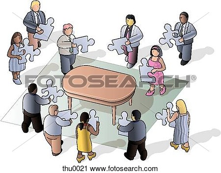 Clipart Of People Putting A Puzzle Together Thu0021   Search Clip Art