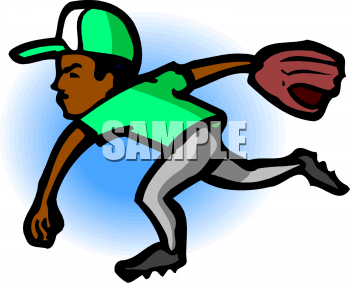 Clipart Picture Of An African American Boy Pitching A Baseball