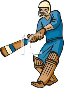 Colorful Cartoon Cricket Player Royalty Free Clipart Picture 101003