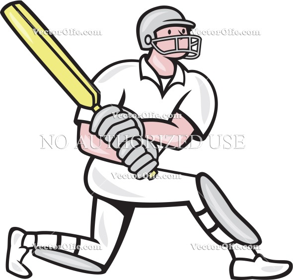 Cricket Player Batsman Batting Kneel Cartoon   Royalty Free Cartoon