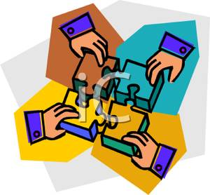 Four Hands Putting Together Pieces Of A Puzzle Clipart Image