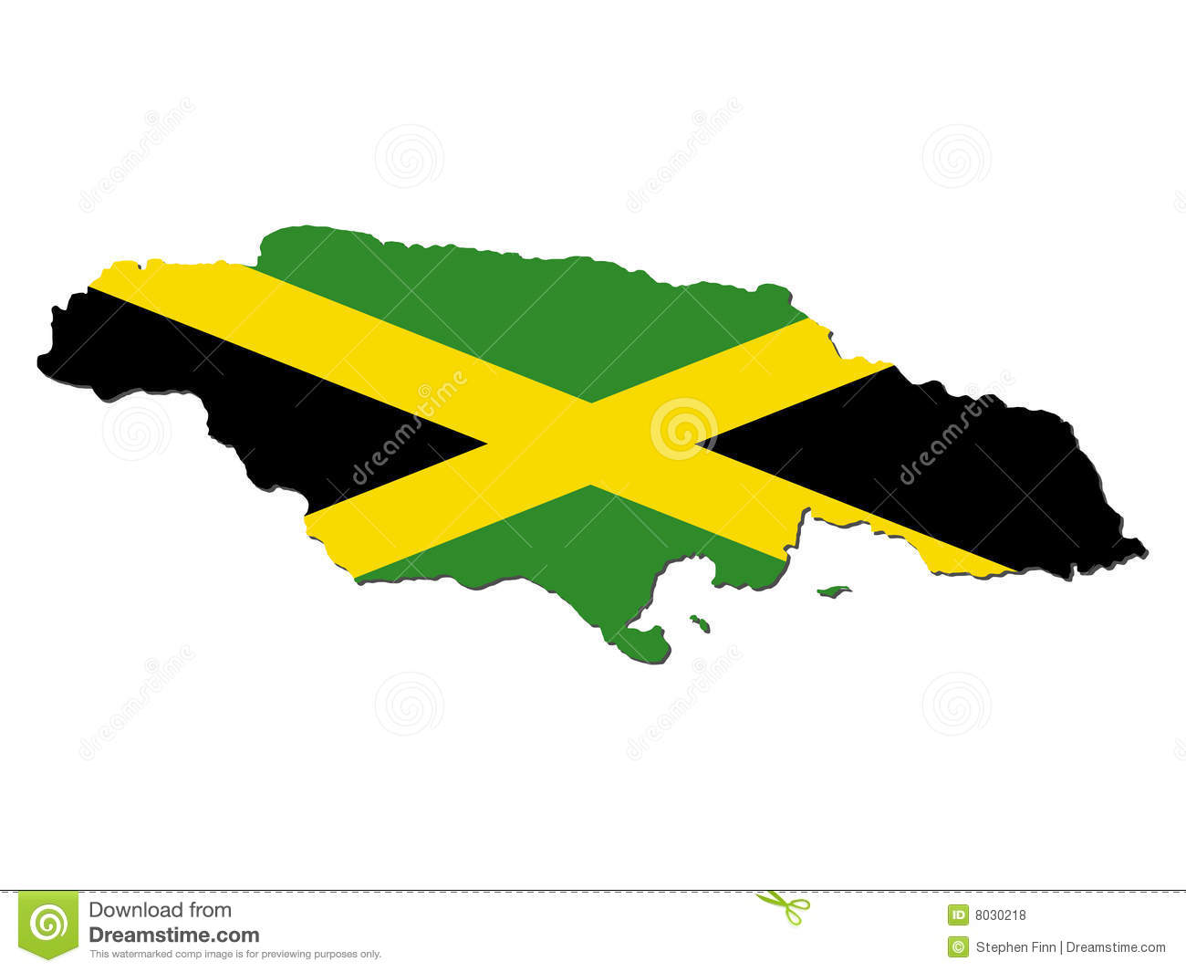 Map Of Jamaica And Jamaican Flag Illustration Clipart