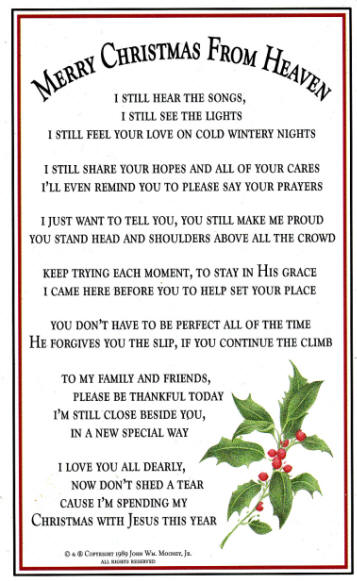 Merry Christmas From Heaven Ornament Poem Card
