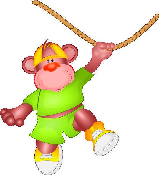 Monkey Jumping On Rope Clip Art At Clker Com   Vector Clip Art Online
