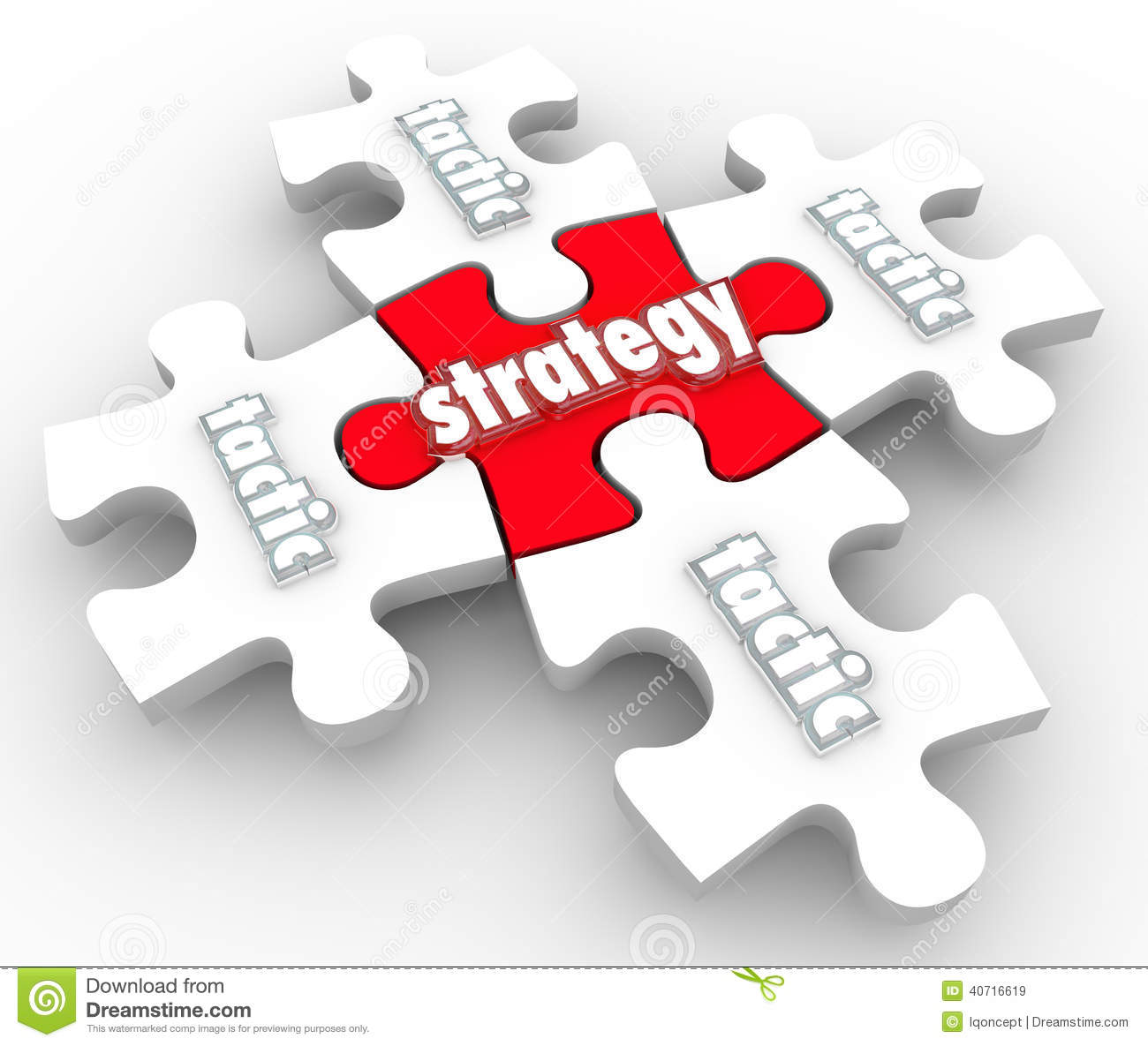 Strategy Tactics Plan Implementation Execution Puzzle Pieces Stock
