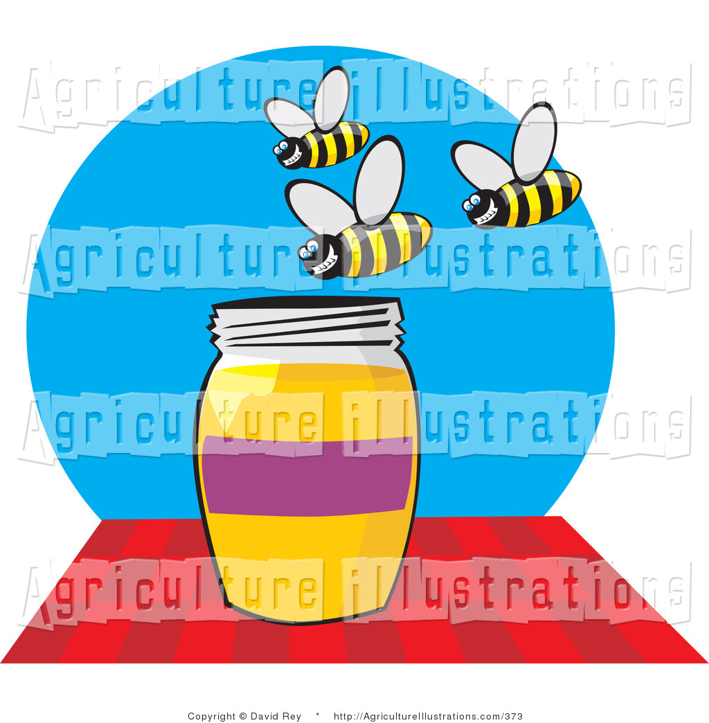 Agriculture Clipart Of A Group Of Grinning Honey Bees Buzzing Above A