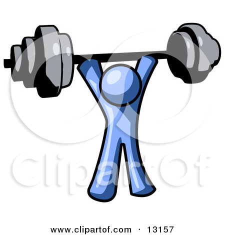 Blue Man Holding A Barbell Above His Head Clipart Illustration By Leo