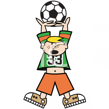 Cartoon Of A Boy Holding A Soccer Ball Above His Head   Royalty Free