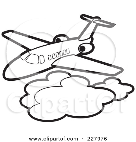 Clipart Illustration Of A Coloring Page Outline Of An Airliner Above