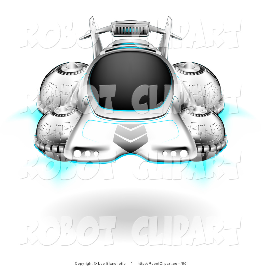 Clipart Of A Futuristic Hover Car Floating Above The Ground By Leo