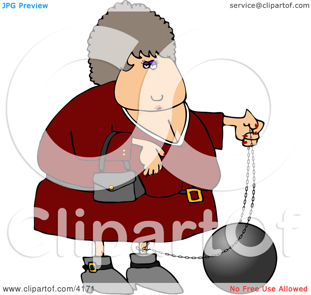 Comfemale Criminal Wearing A Ball And Chain Clipart By Dennis Cox