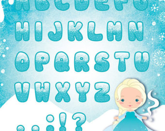 Frozen Alphabet Clipart   Elsa Char Acter And Background   Instant