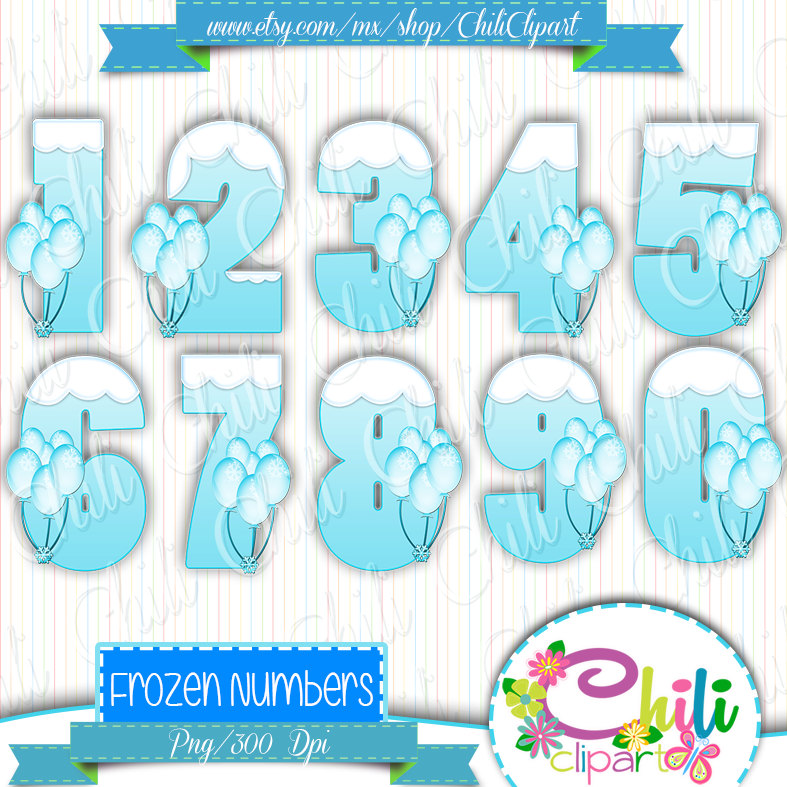 Numbers Frozen Clipart By Chiliclipart On Etsy