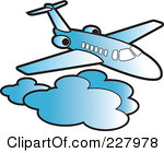 Royalty Free Rf Clipart Illustration Of A Blue Airliner Above Clouds