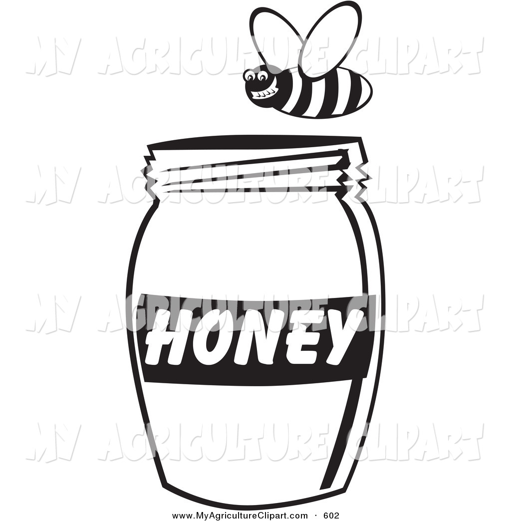 Vector Agriculture Clipart Of A Grinning Honey Bee Flying Above A Jar