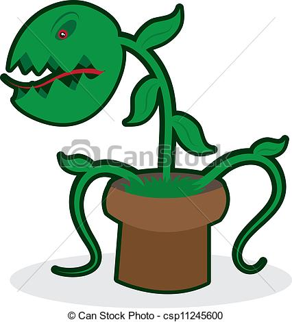 Vector Clipart Of Venus Fly Trap   Angry Venus Fly Trap Isolated On