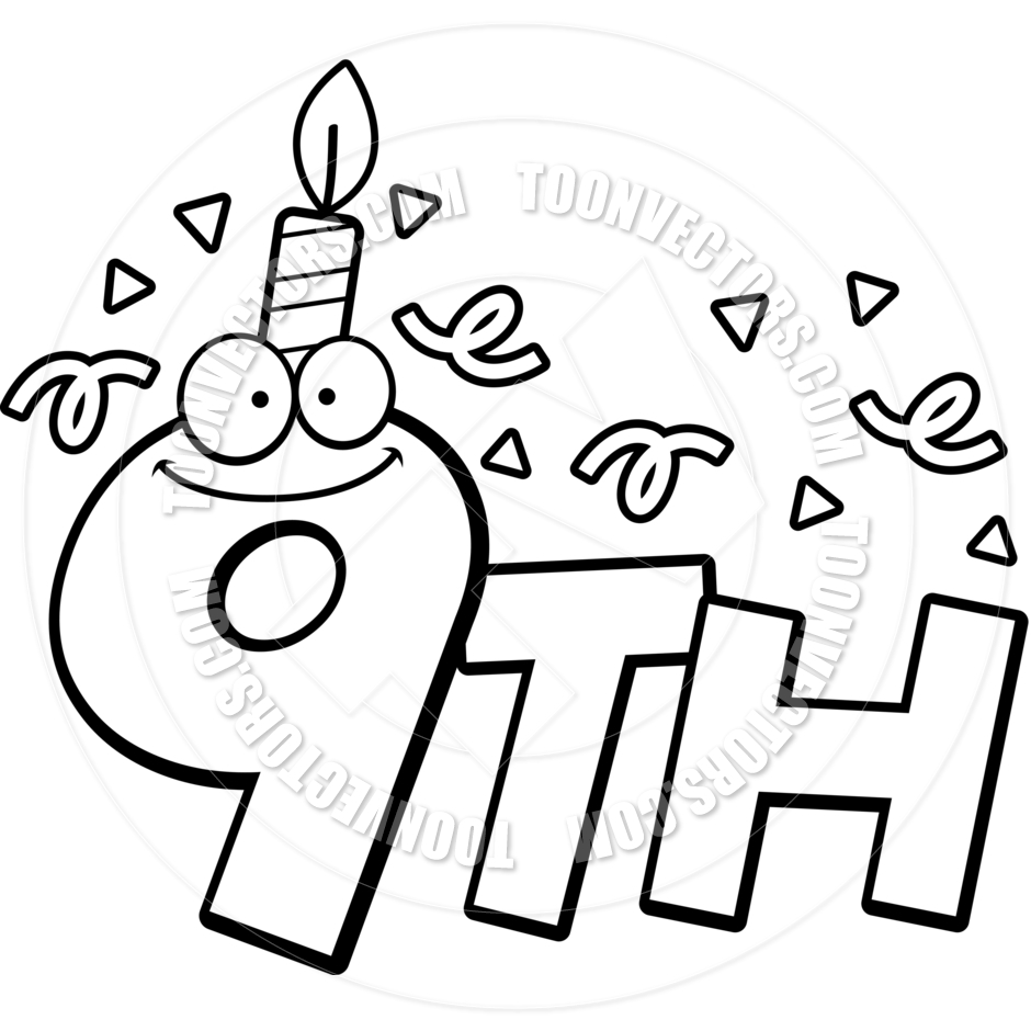 Cartoon 9th Birthday  Black And White Line Art