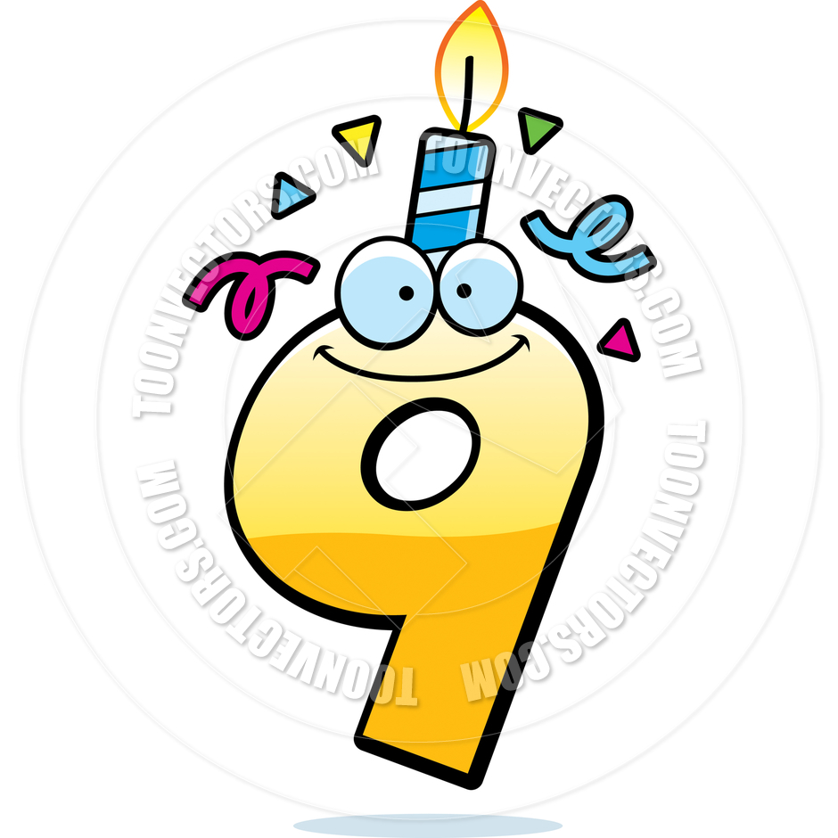 Cartoon Birthday Number Nine By Cory Thoman   Toon Vectors Eps  47213