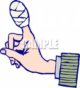 Clipart Image Of A Bandage Wrapped Around An Injured Finger