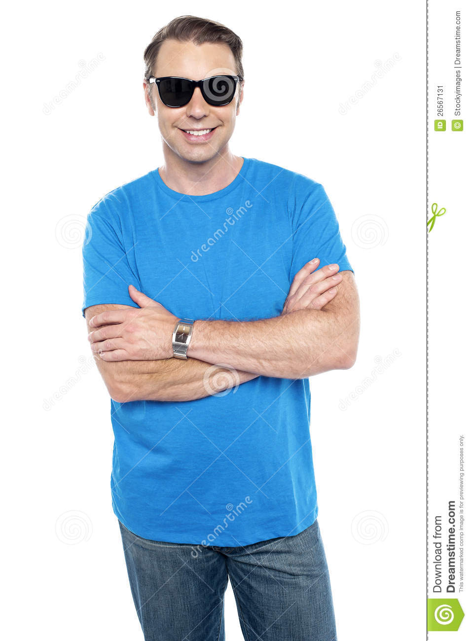 Cool Dude Wearing Goggles Posing With Arms Crossed  Isolated On White