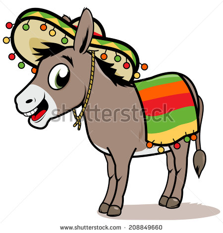 Mexican Donkey  A Cartoon Mexican Donkey Wearing A Sombrero And A