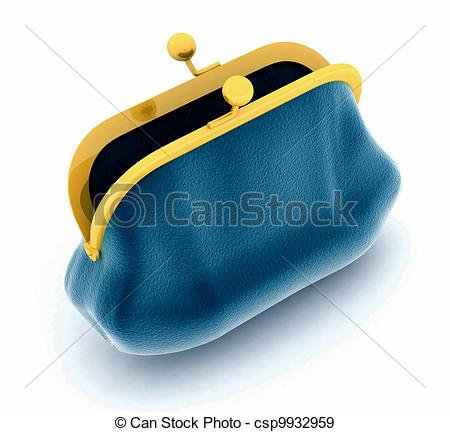 Of Open Purse On A White Background Csp9932959   Search Vector Clipart