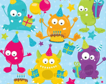 Off Sale Birthday Monsters Clipart Commercial Use Monster Clipart