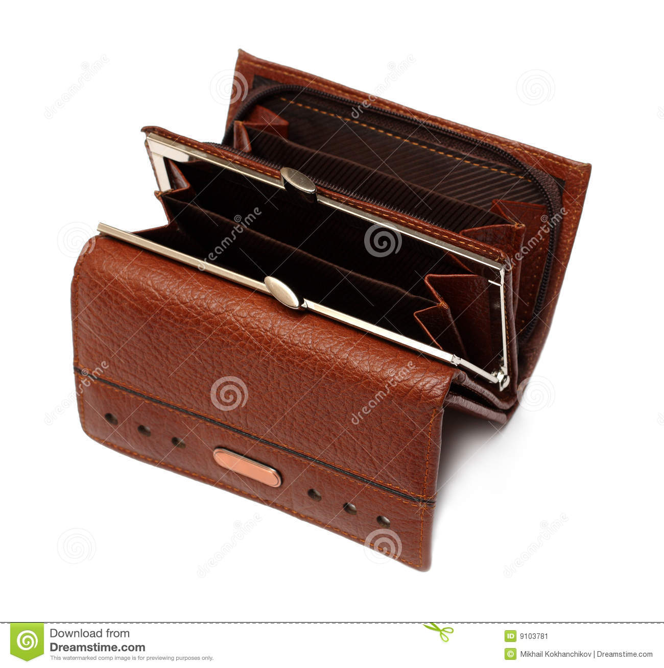 Open Empty Brown Purse Stock Image   Image  9103781