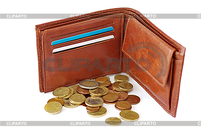 Open Purse On White Background With Scattered Coins     Alextois