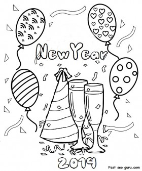 Christmas   Printable Happy New Year 2014 Clipart Coloring Pages