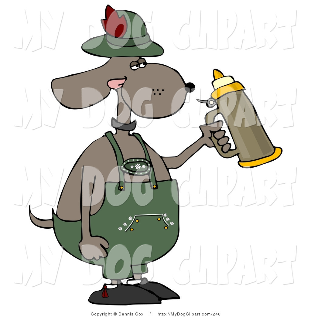 Clip Art Of A Silly Brown Dog Holding A Beer Stein While Celebrating