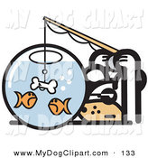 Clip Art Of A Silly Dog Trying To Catch Goldfish In A Bowl With A Dog