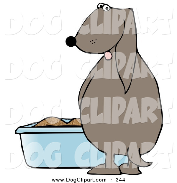 Clip Art Of A Silly Dog Urinating In A Litter Box