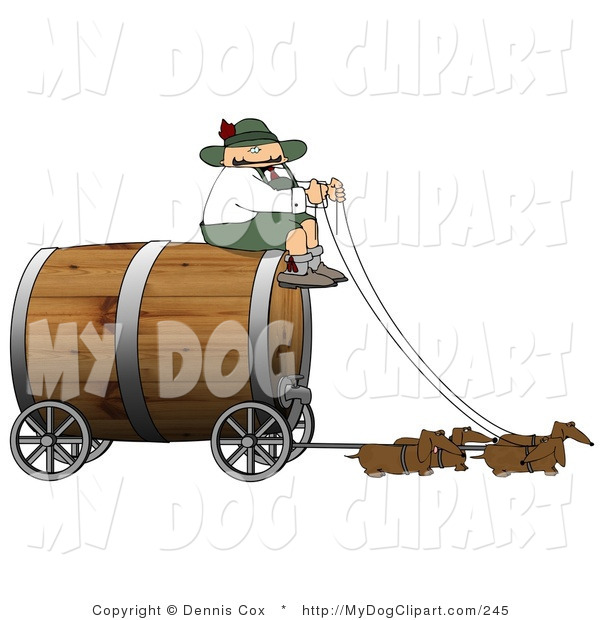 Clip Art Of A Silly German Man Guiding Weiner Dogs Pulling An