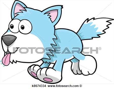 Clipart   Silly Goofy Wolf Puppy Dog Vector  Fotosearch   Search Clip